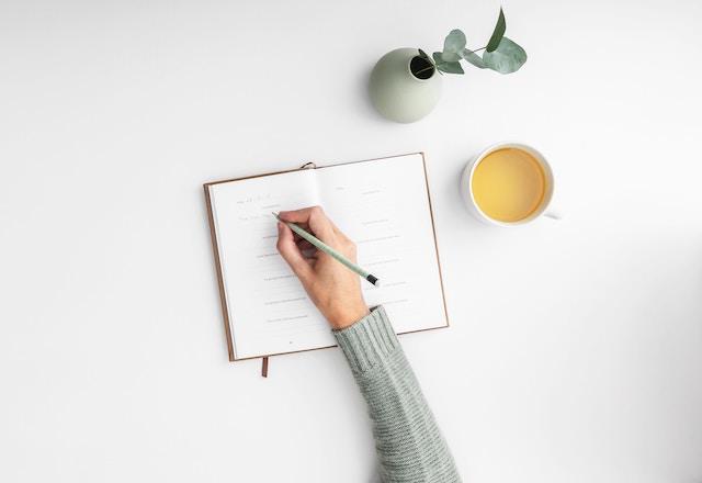 日記を書く手